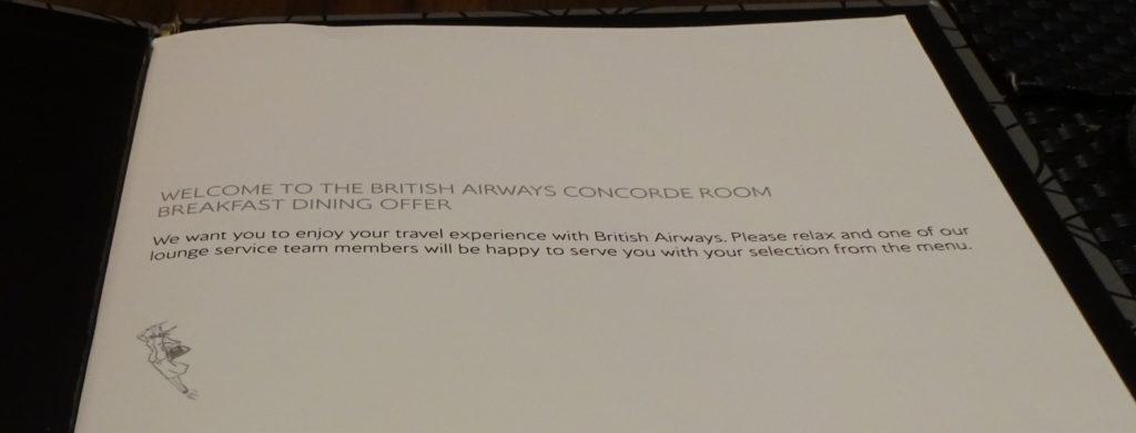 British Airways Concorde Room Breakfast Menu