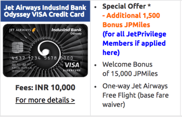 Jet Airways IndusInd Bank Odyssey Visa Credit Card