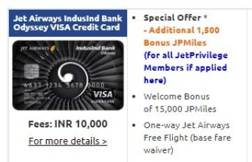 Jet Airways IndusInd Bank Odyssey Visa Credit Card