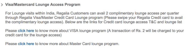 HDFC Bank Regalia Visa Lounge Access