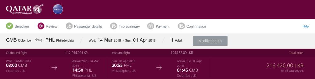 Qatar Airways Colombo to Philadelphia