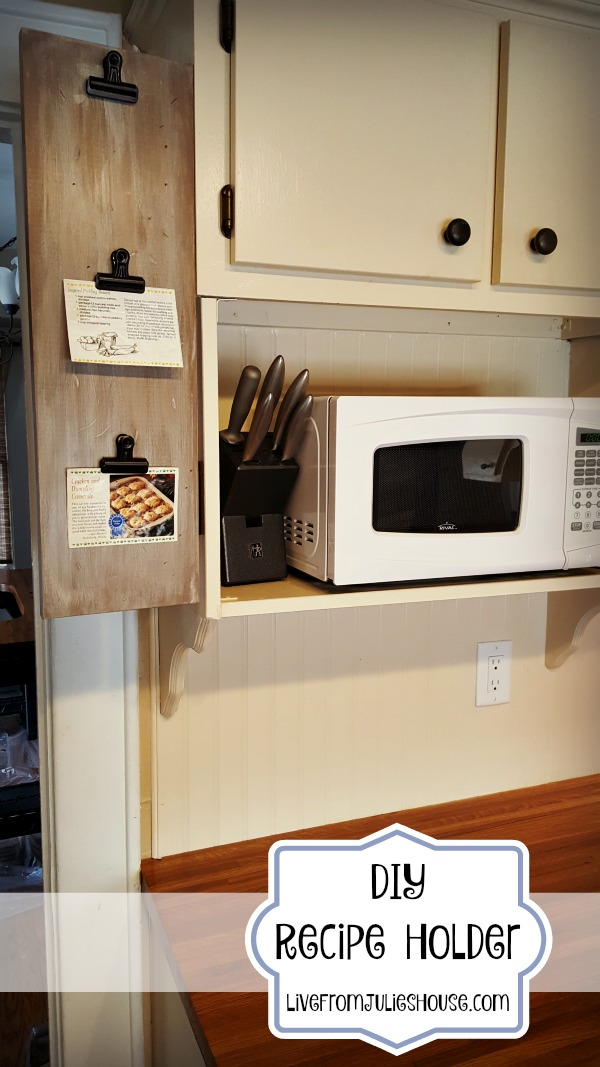 DIY Recipe Holder with Hinges - Keep your paper recipes at eye level with this easy kitchen DIY project