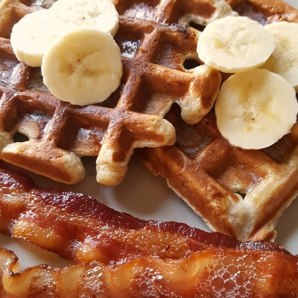 Banana Bread Waffles + the BEST Way to Cook Bacon