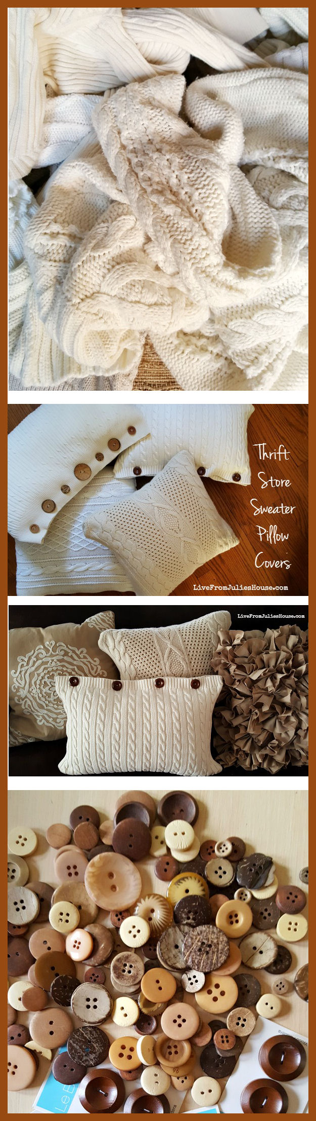Thrift Store Sweater Pillow Tutorial - Live from Julie s House