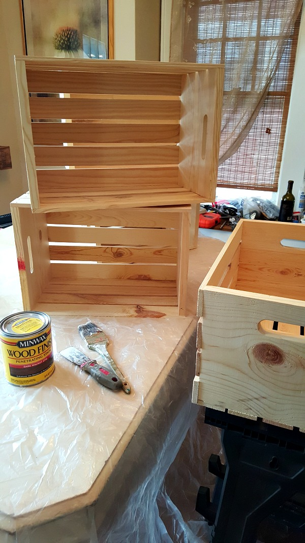 Unfinished wooden crates from Michael's
