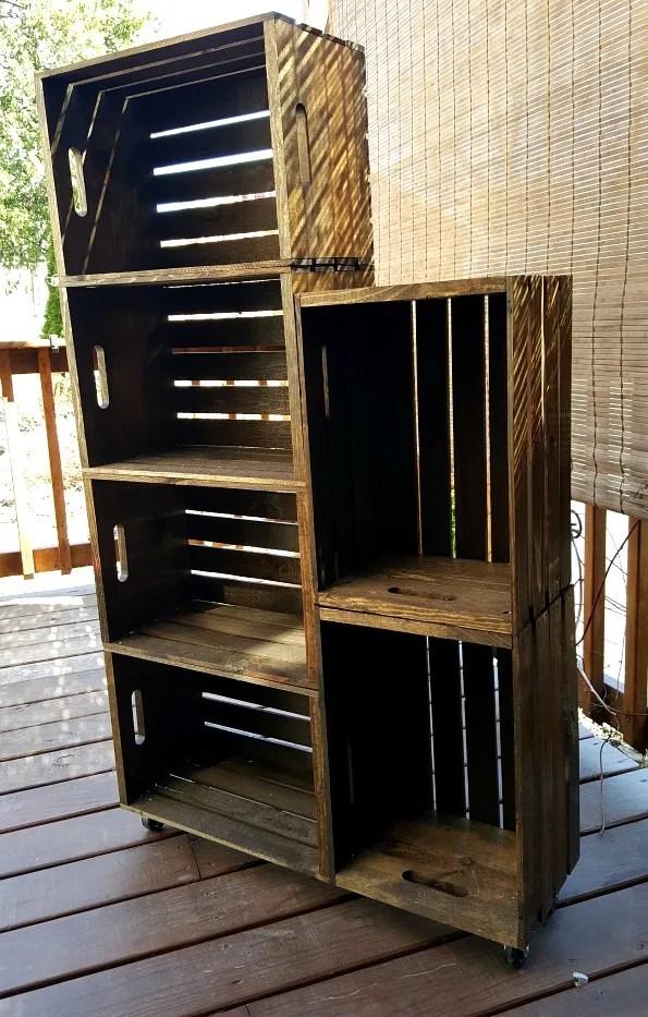 diy wooden crate shoe rack live from julie 39 s house. Black Bedroom Furniture Sets. Home Design Ideas