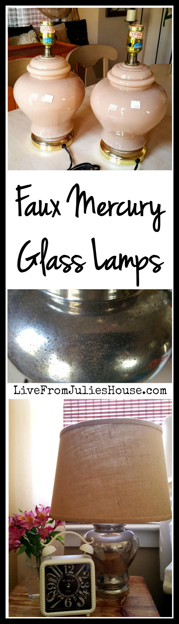 Faux Mercury Glass Lamp Tutorial - I turned dated $5.99 thrift store lamps into stylish additions to my bedroom with a fast and easy faux mercury glass paint technique.