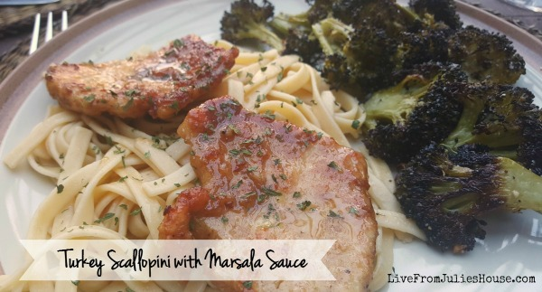 Turkey scallopini with roasted garlic broccoli - This Turkey Scallopini with Marsala Sauce looks fancy, but it's on my short list of fast and easy weeknight meals