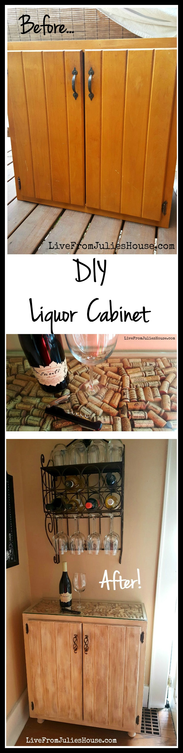 DIY Liquor Cabinet - I created a budget friendly DIY Liquor Cabinet out of a sad looking 1970's kitchen cabinet with the addition of some paint, wine corks and new knobs. It was easy!