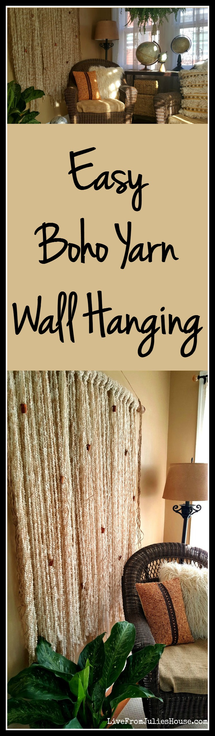 EASY Boho Yarn Wall Hanging - Find out how to make a fast, easy and super-stylish DIY boho yarn wall hanging - no crazy macrame skills required!