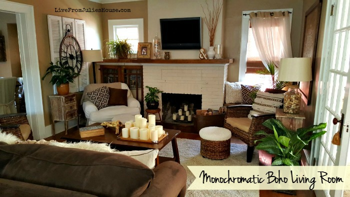 Monochromatic Boho Living Room - Take a little tour through my  monochromatic boho inspired living room