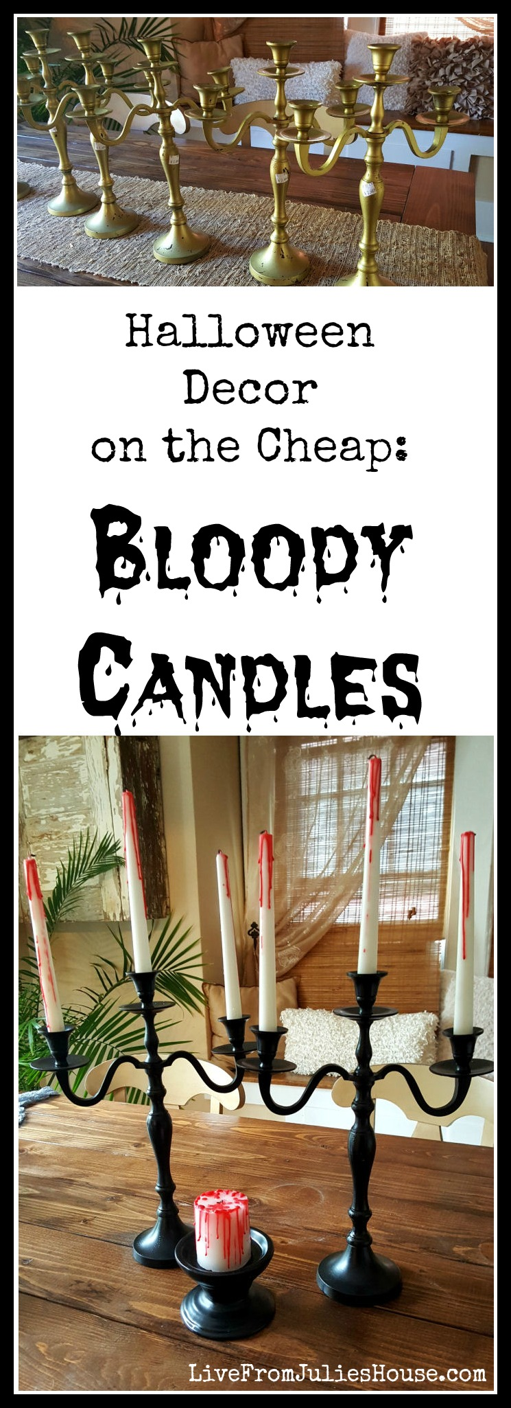 halloween decor on the cheap bloody candles want a halloween decor project that gives - Cheap Halloween Decor