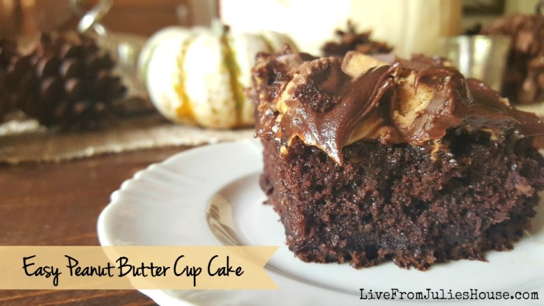 Easy Peanut Butter Cup Cake - This decadent Peanut Butter Cup Cake starts out with a boxed mix and ready made frosting, the end result is heavenly rich and gooey treat.