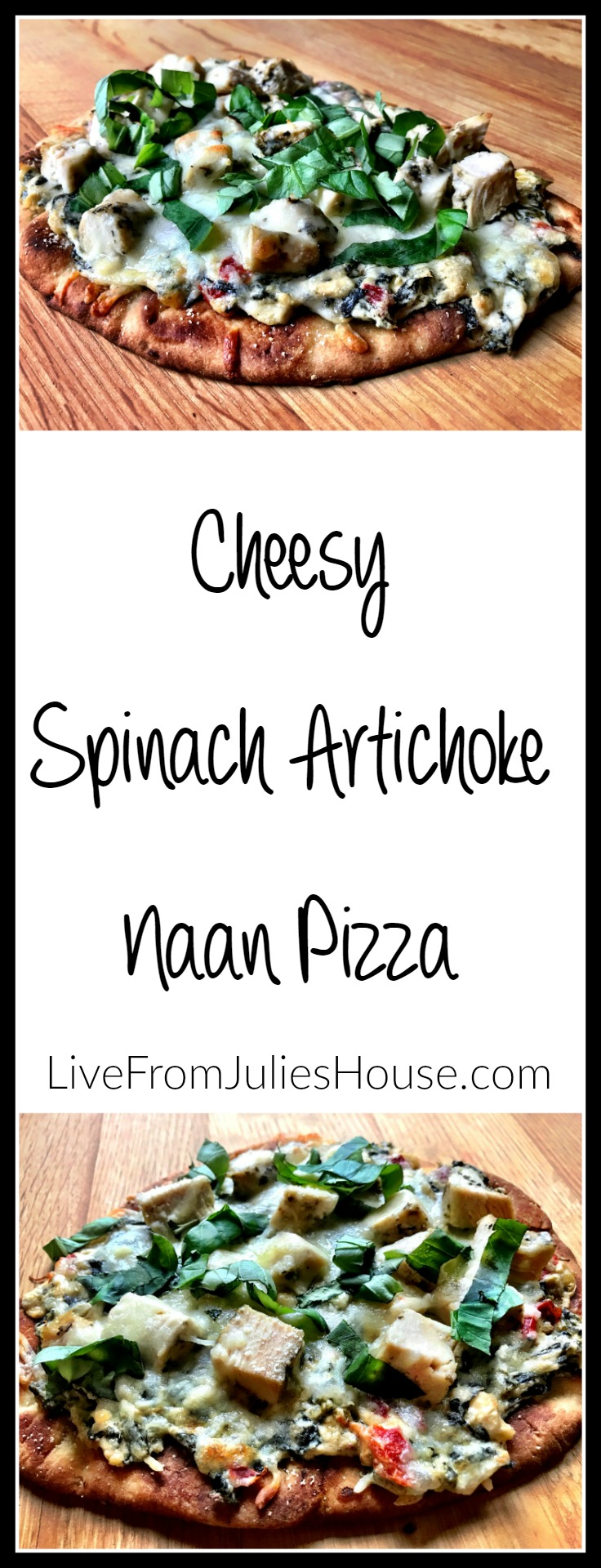 Cheesy Spinach Artichoke Naan PIzza