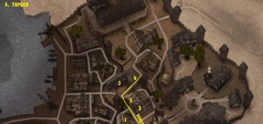 Карта на которой показаны мастера города Хоринис