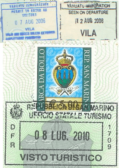 passport visa stamps vanuatu san marino livein10countries