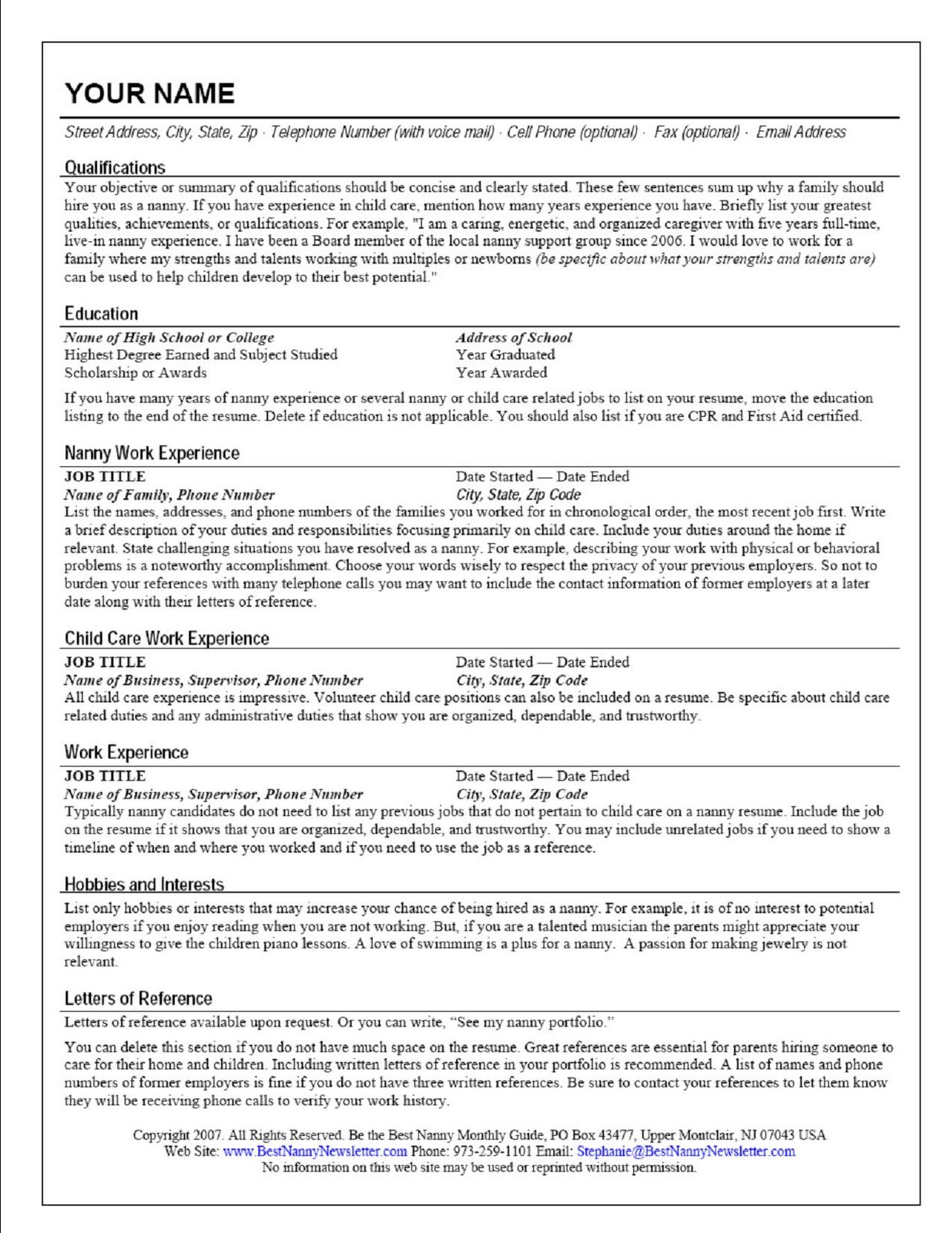 Canada Jobs Post Resume sample of nanny in canada