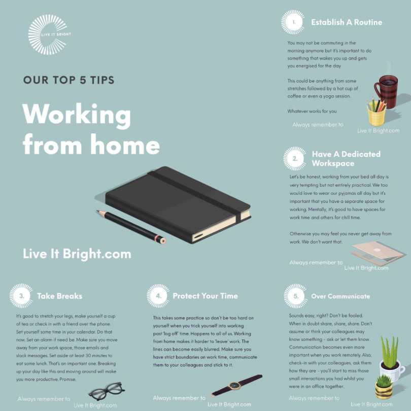 Live it Bright five tips for working from home