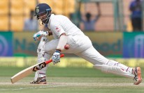 India's Cheteshwar Pujara plays a shot during the third day of their second test cricket match against Australia in Bangalore, India, Monday, March 6, 2017. (AP Photo/Aijaz Rahi)