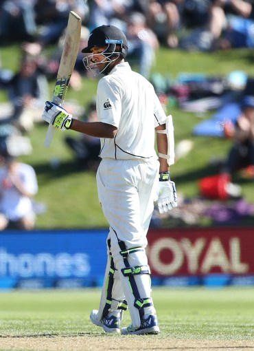 DUNEDIN, NEW ZEALAND - MARCH 09: Jeet Raval of New Zealand celebrates his 50 runs during day two of the First Test match between New Zealand and South Africa at University Oval on March 9, 2017 in Dunedin, New Zealand. (Photo by Dianne Manson/Getty Images)