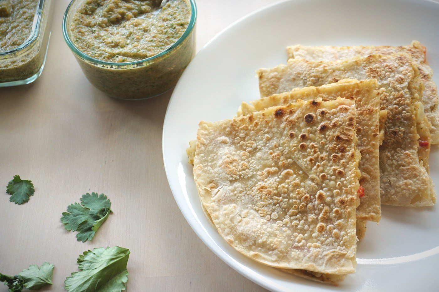 Mashed Potatoes Quesadilla on plate with chutney by side