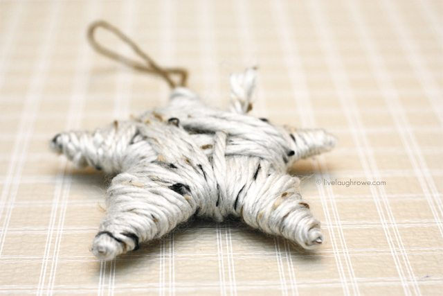 DIY Yarn Wrapped Star Ornament with livelaughrowe.com