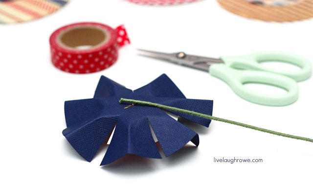 glue floral wire to back of patriotic paper flowers