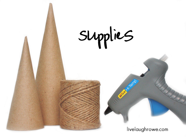 Supplies for Twine Wrapped Christmas Trees