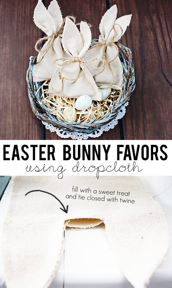 Easter Bunny Favors to sweet to pass up!! I love that they're made using drop cloth too. livelaughrowe.com
