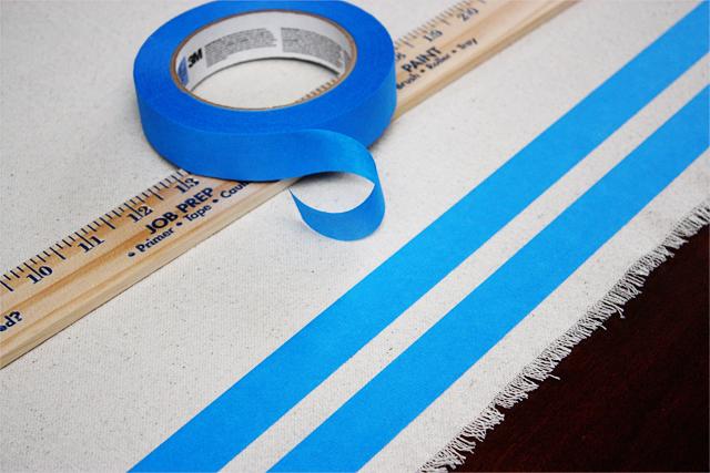 Preparing for Large Stripe on DIY Drop Cloth Table Runner