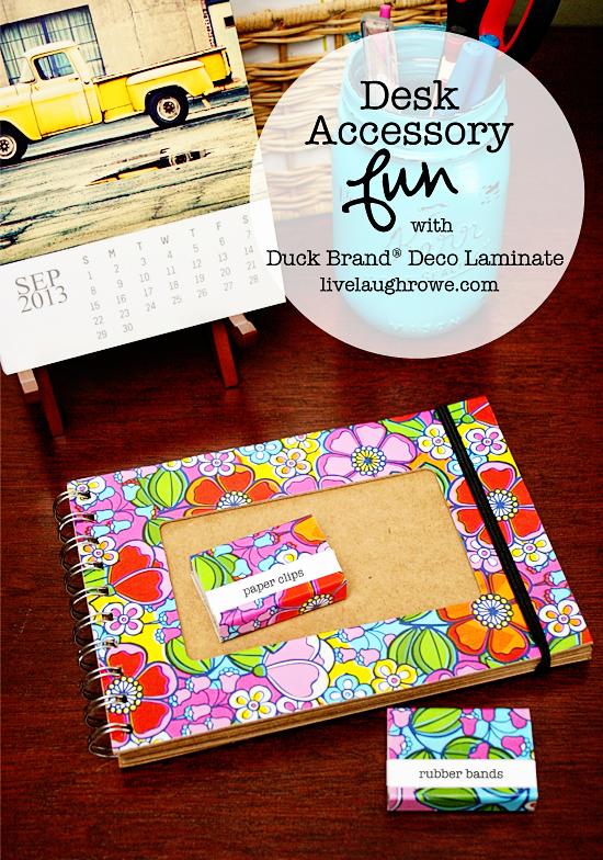 DIY Desk Accessories with Deco Adhesive Laminate at livelaughrowe.com