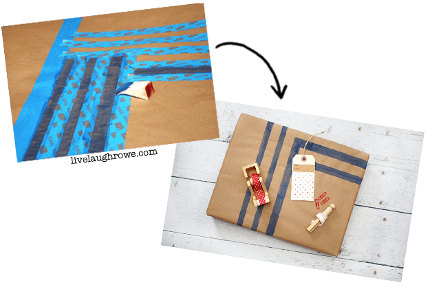Using ScotchBlue painters tape to stencil patterns onto kraft paper with livelaughrowe.com