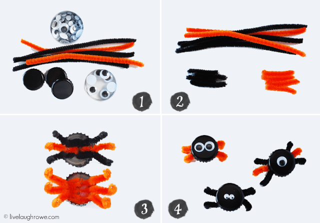 Tutorial for Bottle Cap Spiders with livelaughrowe.com