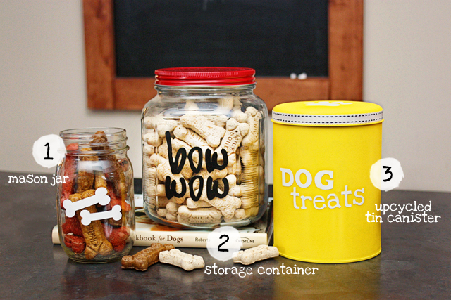 Super fun and easy DIY Dog Treat Canisters using vinyl with livelaughrowe.com