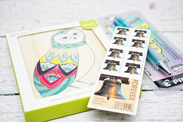 Owl Stationary.  Stamps and Dr. Grip Pen