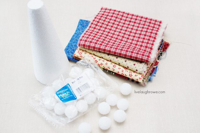 supplies for scrap fabric christmas tree