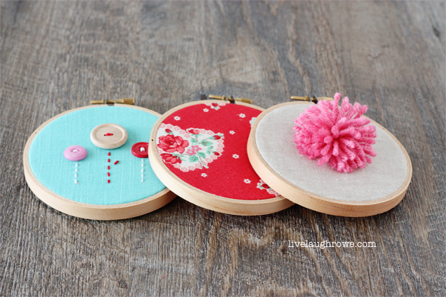 DIY Valentine's Day Embroidery Hoops with livelaughrowe.com