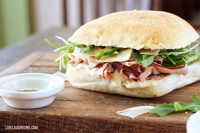 Mouthwatering Ham and Arugula Sandwich.