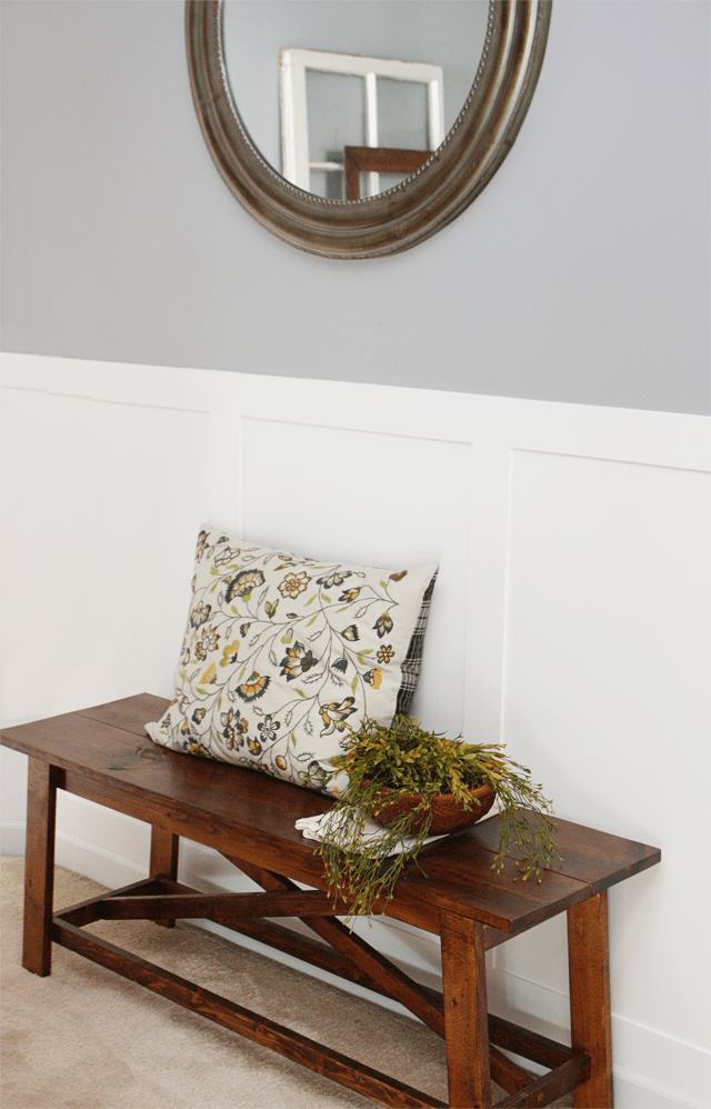 Rustic Wood Bench and Greenery in Dining Room