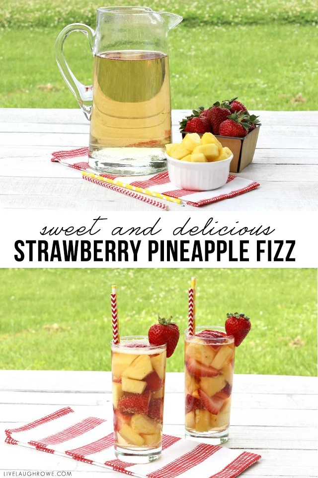 Strawberry Pineapple Fizz -- a sweet and refreshing summer drink! Recipe at livelaughrowe.com