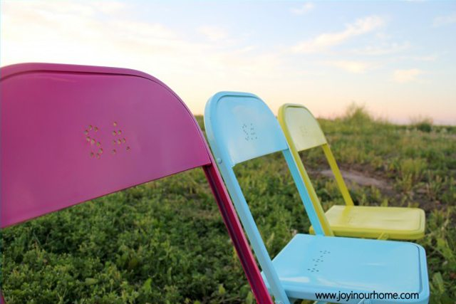 Fun and Colorful Metal Chair Makevoer via Joy in Our Home
