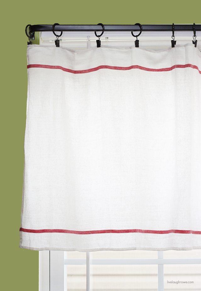 DIY Window Treatment using IKEA dish towels... Inexpensive too! More at livelaughrowe.com #diy