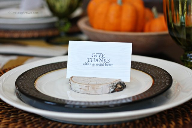 DIY Birch Place Card Holders and a free printable for your Thanksgiving Tablescape. More at livelaughrowe.com