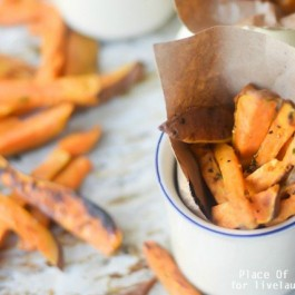 Delicious Roasted Sweet Potato Fries. An easy side dish you can make in about 20-25 minutes. Recipe from Place of My Taste for www.livelaughrowe.com