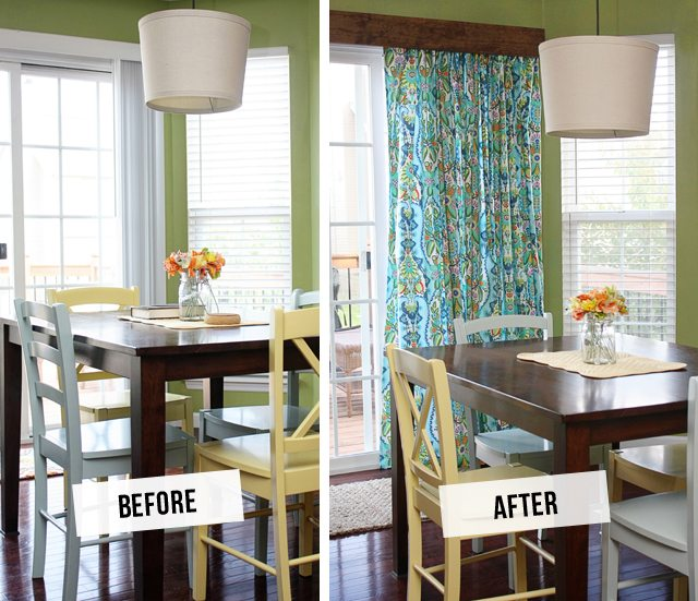 DIY Window Treatment for Sliding Glass Doors! Fantastic Before and After -- tutorial at www.livelaughrowe.com