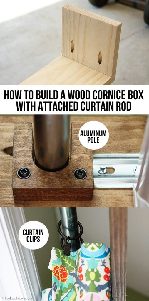 wood cornice box with attached curtain rod