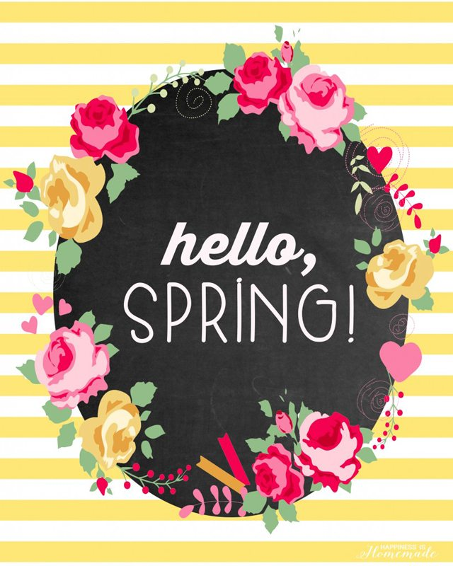 Hello Spring Printable by Happiness is Homemade