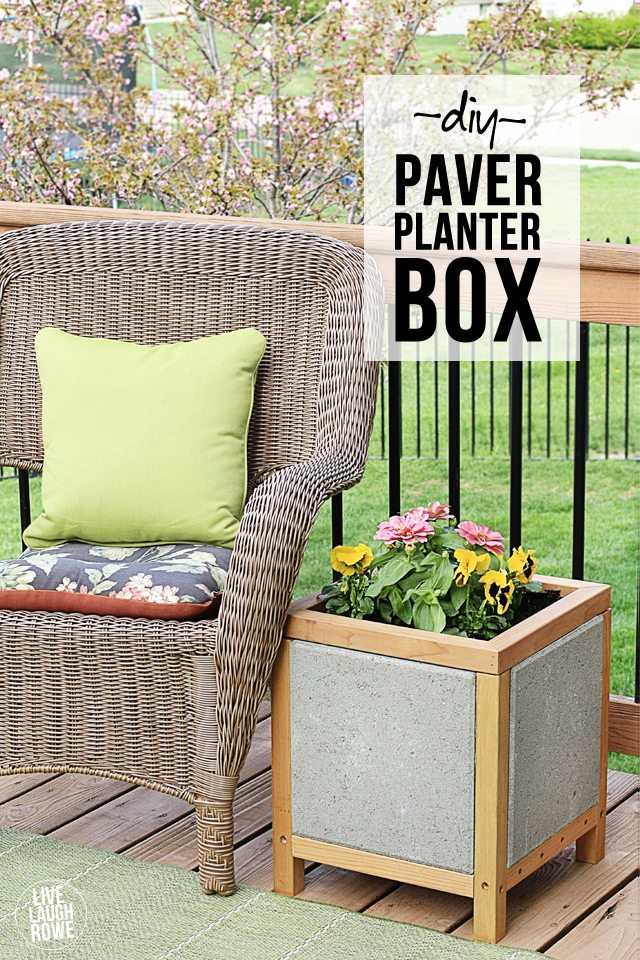 DIY Paver Planter Box. #DIHWorkshop Project with tutorial at www.livelaughrowe.com
