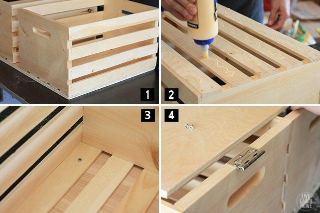 Steps to make your own DIY Storage Ottoman. www.livelaughrowe.com