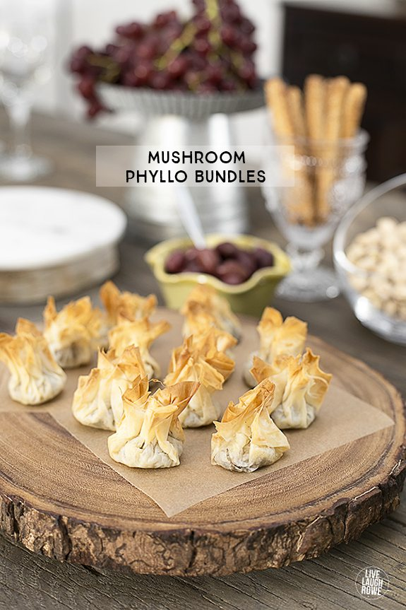 Delicious Mushroom Phyllo Bundles are a delectable appetizer and they're even better when paired with wine! Recipe at livelaughrowe.com
